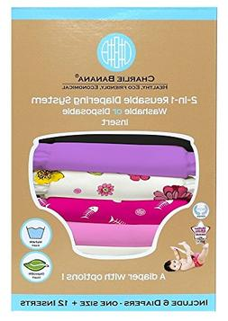Charlie Banana 2-in-1 Reusable Diapering System, 6 Diapers p