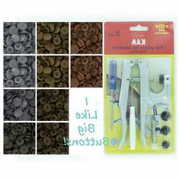 100 Metallic Starter Pack Kit/Pliers KAM Snap/Plastic Snaps/