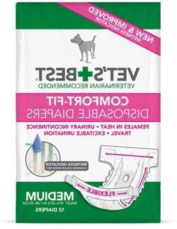 12 Count, Medium - Vet's Best Comfort Fit Dog Diapers Dispos