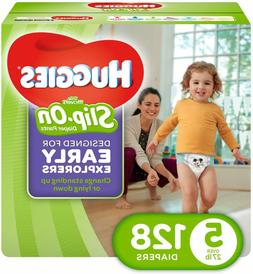 128 Count, Little Movers Slip On Diaper Pants, Size 5,  ECON