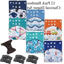 12 Pack Reusable Waterproof Bamboo Charcoal One Size Pocket