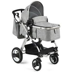 2-1 FOLDABLE HIGH VIEW GRAY Aluminum Baby Stroller Baby Jogg