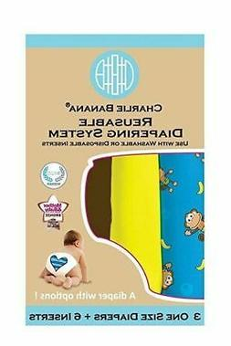 Charlie Banana 2-in-1 Reusable Diapering System, 3 Diapers +