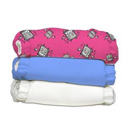 Charlie Banana 3 Diapers Plus 6 Inserts, Hot Robot