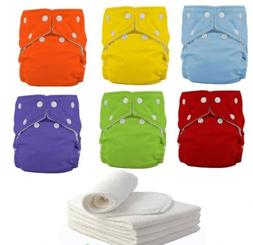 5 Diapers+ 5 INSERTS Adjustable Reusable Lot Baby Washable C