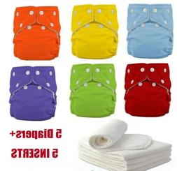 5 Diapers+5 Inserts Adjustable Reusable Washable Baby Cloth