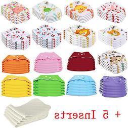 5 PCS+5 INSERTS Cloth Diapers lot Nappies Adjustable Reusabl