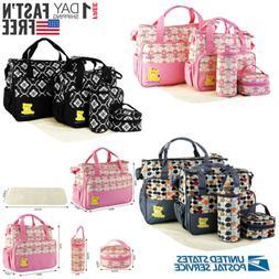 5pcs Mommy Handbag Baby Changing Diaper Nappy Bag Bottle Mat