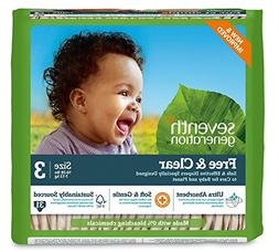 Seventh Generation Free & Clear, Unbleached Diapers, Size 3,