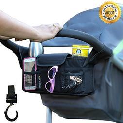 Stroller Organizer + Stroller Hook, Universal fit with Adjus
