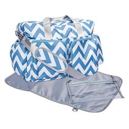 Trend Lab Chevron Deluxe Duffle Diaper Bag, Blue/White