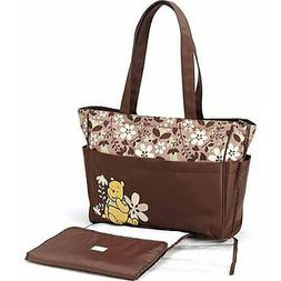 "Winnie the Pooh ""Friendly Flowers"" Large Diaper Bag - brown,"