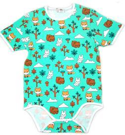 Adult Forest baby animal bodysuit romper aqua green color au