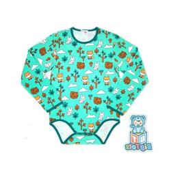 Adult Forest baby animal Long S.bodysuit romper aqua green a