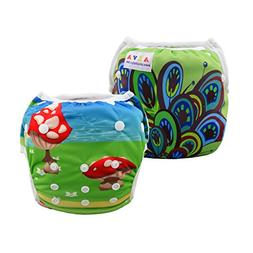 ALVABABY Girl Swim Diapers 2pcs One Size Reuseable Adjustabl