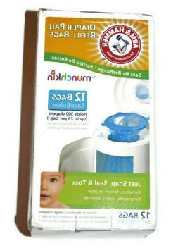 Arm Hammer diaper pail refill bags Munchkin 12 count 300 dia