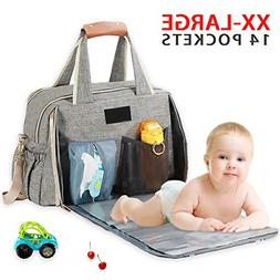 Baby Diaper Bag, Large Stylish Tote Convertible Travel Baby