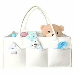 Baby Diaper Caddy Organizer for Nursery - XL White Felt Larg
