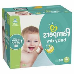 Pampers Baby-Dry Baby Diapers Size 4, Count 186 ONE MONTH SU