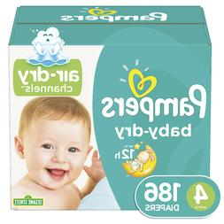 Pampers Baby-Dry Diapers Size 4 186 Count Free Shipping
