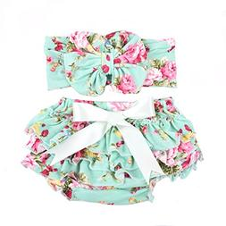 Baby girl's bloomer and headband set with big bow diaper cov