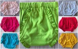 Baby Girls Ruffle Knit Baby Bloomers Diaper Cover  0-6 6-12
