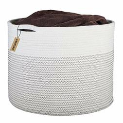 Baby Laundry Basket W/ Handle XL Storage Cotton Rope Woven F