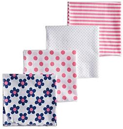 New Gerber Baby Pink Blue Flowers Floral Dot Cotton Flannel