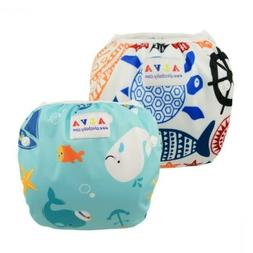 ALVABABY Swim Diapers for 0-3 Years Large Size 2pcs Reuseabl