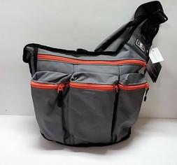 Diaper Dude Messenger Diaper Bag for Dads, Gray with Orange
