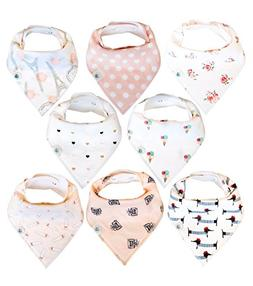 Baby Bandana Drool Bibs 8 Pack for Girls, Hypoallergenic Sof