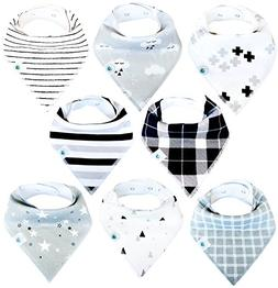 Baby Bandana Drool Bibs 8 Pack for Boys and Girls Soft Organ