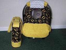 **BATMAN LOGO**Fitted Baby car seat canopy-cover w/matching