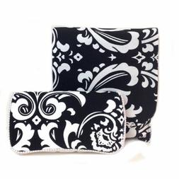 Black and white unisex damask baby wipes case and diaper clu