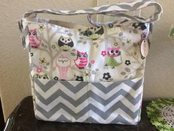 Brownie Gifts Messenger Diaper Bag Natural Owls
