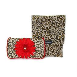 Cheetah with red flower and crystal Diaper clutch and wipes
