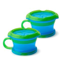 Munchkin Click LockDeluxe Snack Catcher, Blue/Green, 2-Count