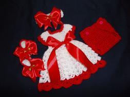 Handmade Crochet baby dress,headband/Shoes diaper cover-Rock