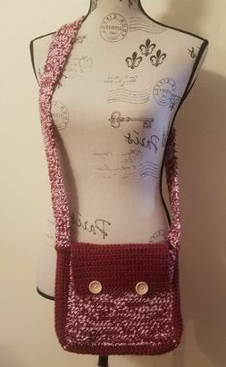 Cross-Body Messenger Crochet Bag Burgundy & Pink Cute Hands-