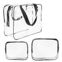 3Pcs Crystal Clear Cosmetic Bag TSA Air Travel Toiletry Bag