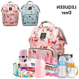 LEQUEEN  Deer Mummy Baby Diaper Bag Backpack Shoulder Bag ha
