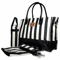 DESIGNER DIAPER BAG BLACK FAUX LEATHER BLACK & WHITE STRIPES
