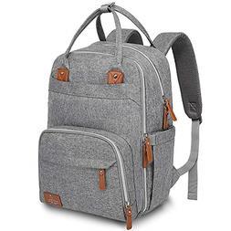 Diaper Bag Backpack, BabbleRoo Neutral Travel Back Pack for