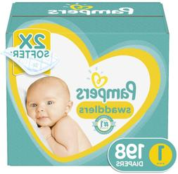 Diapers Newborn / Size 1 , 198 Count - Pampers Swaddlers Dis