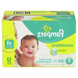 Diapers Size 2, 124 Count - Pampers Swaddlers Disposable Bab