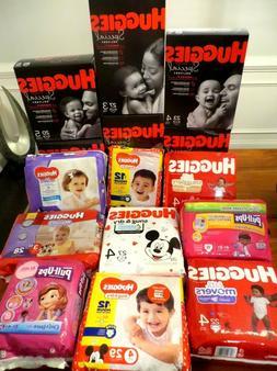 Disney Huggies, Snug& Dry Diapers,Size Newborn,1,2,3,4,5,Val