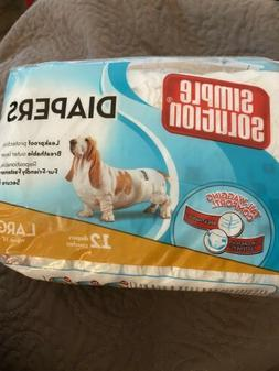 Simple Solution Disposable Dog Diapers, Pack Of 12, Size Lar