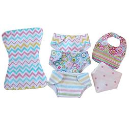 Baby Doll Diaper Bib Burp Set