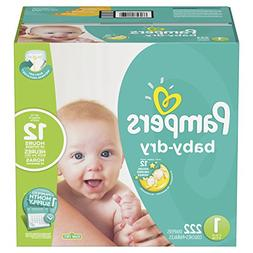 Pampers Baby-Dry Disposable Diapers Size 1, 222 Count, ONE M