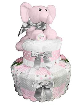 Elephant Diaper Cake - Baby Shower Gift - Centerpiece - Pink